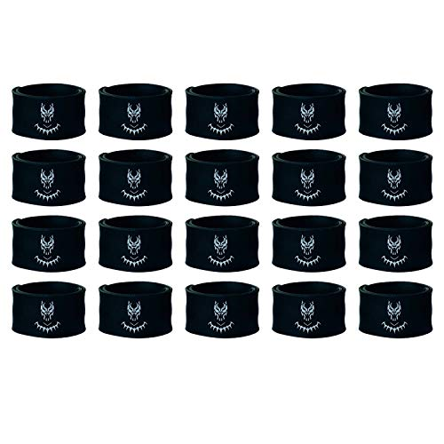 JT Party Black Panther Superhero Slap Bracelets for Kids Boys and Girls Birthday Party Supplies Favors (20 Pack)