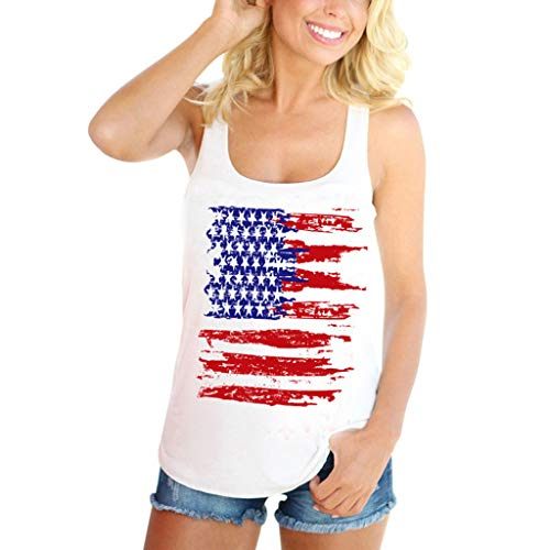 New in Respctful✿ Women's American Flag Print Tank Top Casual Cotton USA Patriotic Sleeveless T-Shirt Vest White ()