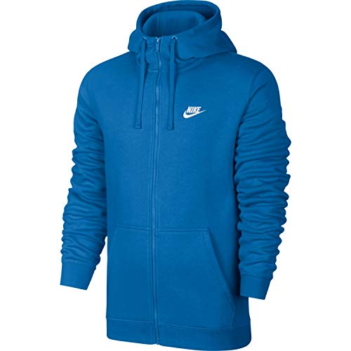 NIKE Mens Sportswear Full Zip Club Hooded Sweatshirt Signal Blue/White 804389-403 Size Large