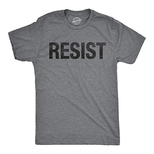 Mens Resist Tee United States of America Protest Rebel Political T Shirt (Dark Heather Grey) - S