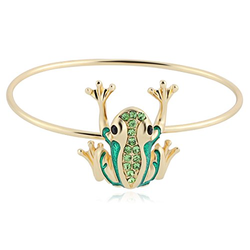 NOUMANDA Cute Animal Frog Bangle Rose Gold Silver plated Crystal Charm Bracelet (gold) Frog Shell