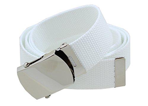 White Web Belt with Buckle Military - Belt Web White
