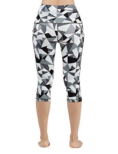 ODODOS High Waist Out Pocket Printed Yoga Pants Tummy Control Workout Running 4 Way Stretch Yoga Leggings,Crosstalk, Small