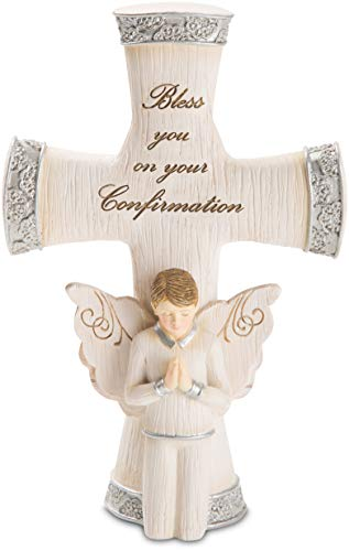 (Pavilion - Bless You On Your Confirmation - Praying Boy Angel Figurine with Cross 5.5 Inches)