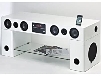 Meuble Tv Home Cinema Integre Watts Blanc Amazon Fr Cuisine Maison
