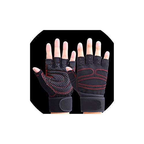 2019 Fitness Gym Outdoor Sports Motorcycle Gloves Men Women Guantes Half Finger Red Black Breathable Tactical Gloves,Black Gloves,M