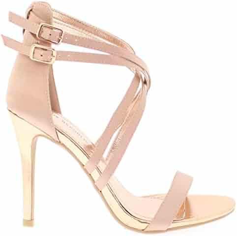347b656a67 Shoe Republic Crisscrossed Straps Open Toe Sandal with Stiletto Heel Chavez