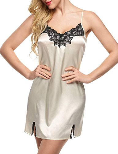 L'amore Satin Nightgown Ladies Silk Lace Chemise Satin Babydoll Lingerie Nighties (Ivory Satin Trim)