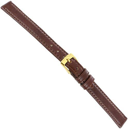 11mm Morellato Brown Genuine Calfskin Leather Stitched Ladies Watch Band (Milano Ladies Fashion Watch)