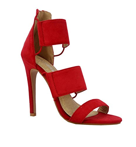 High Women's Red Elastic Heel Cut Suede Faux Out Jacobies qTPRSqw