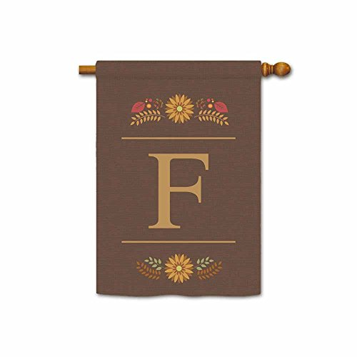 Kafepross Welcome Fall Monogram F House Flag Decorative by Colorful Leaves Custom Your Initial and Name Large Banner 28