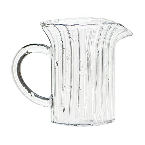 Ins Modern Style Delicate Carved with Cute Round Spout Ceramic Transparent Glass Coffee Milk Creamer Serving Sauce Porcelain Pitcher Cup Jug Vase with Handle for Kitchen Home Decor Gift Various Shapes ()