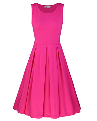 STYLEWORD Women's Sleeveless Casual Cotton Flare Dress(Rose,XL)