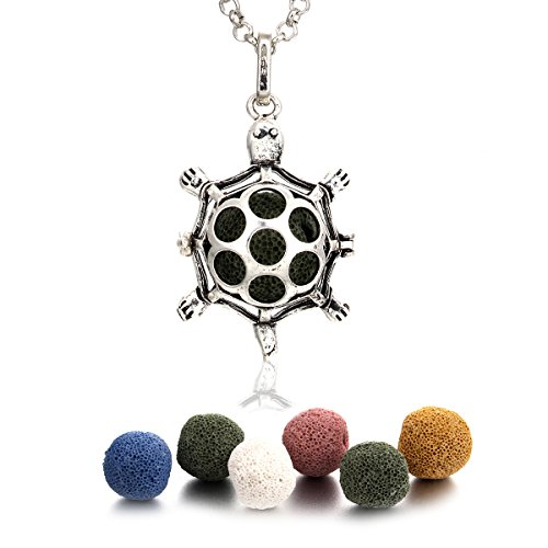 In The Dark Lava Stone Aromatherapy Necklace Essential Oil Diffuser Locket Necklace Come with 25~27