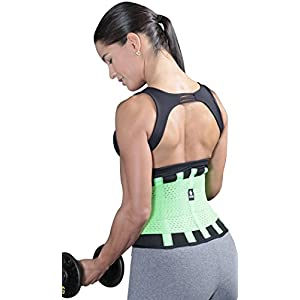 Tecnomed Best Adjustable Waist Cincher Workout Belt Burns Fat Faster Plus Instantly Slims Waist and Moves with You to Provide Critical Lower Back and Core Support for Lifting and Workouts GreenM