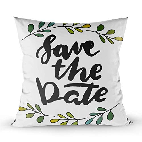 Throw Pillow Cushion Cover,Boys/Girls Room,Home Sofa Decor, Save The Date Labels Card Wedding Invitation Throw Pillowcase for Couch,W 18