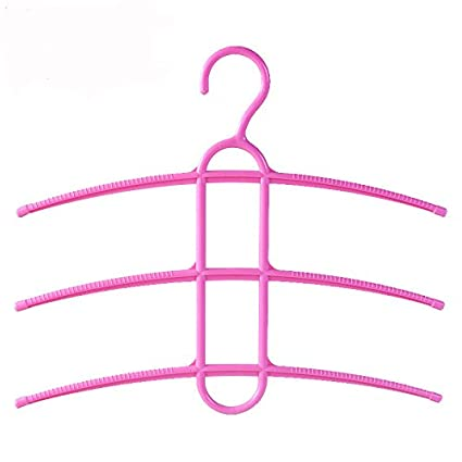 Candyqueen 3Pcs Multi-Functional Closet Hangers Space Saver,3-Tier Non Slip Clothes Storage Hanging Rack Holder Organizer Home (Pink)