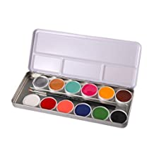 Professional Body Paints Children Adults Face Painting 12 Colors Palette Brush Kit Non-Toxic - Hard Case - Water Activated - for Halloween, Fancy Dress, Party, Cosplay, Stage Makeup