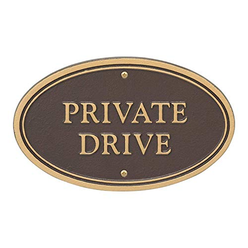 (Whitehall Products 10571 Statement Marker-Wall/Lawn Private Drive Plaque, 10 x 6 Bronze/Gold)