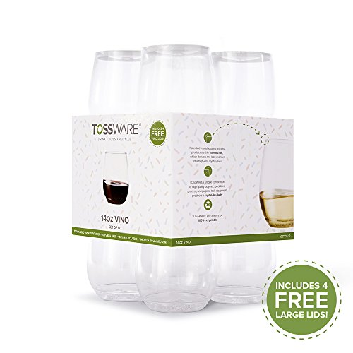 TOSSWARE 14oz Vino Summer Pack Recyclable Wine Plastic Cup, Set of 12, Clear