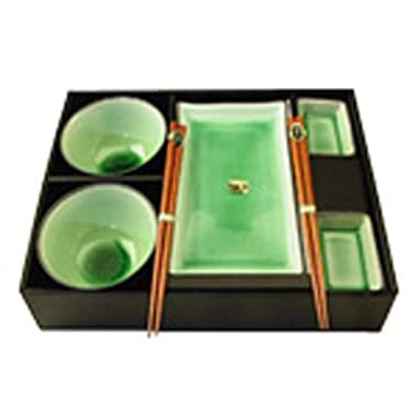 8 Pieces Japanese Green Color Dinnerware Set