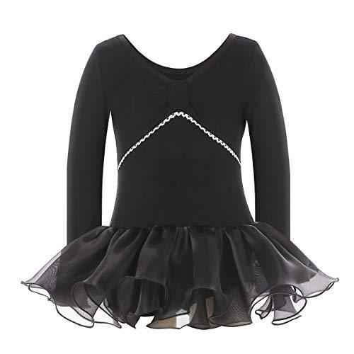 MAGIC PRINCESS Girls Classic Long Sleeve Black Leotards with Organza Skirt for Dance, Gymnastics and Ballet (2-4(S), Black Skirt