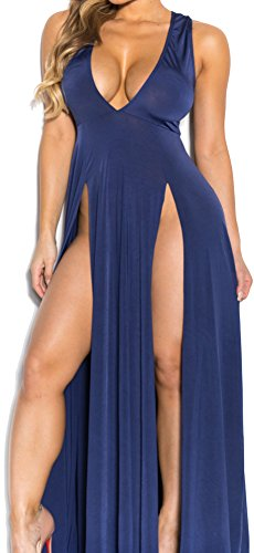 Women Sexy Deep V Neck Sleeveless High Slit Bandage Club Party Beach Maxi Dress
