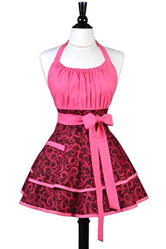 Lucy Raspberry Pink Swirls Womens Retro Kitchen Pinup Apron with Personalize ()