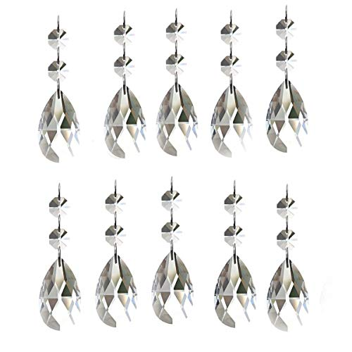 KUPOO Pack of 10 Clear Crystal Chandelier Prisms Pendants Glass Pendants Beads(50mm)