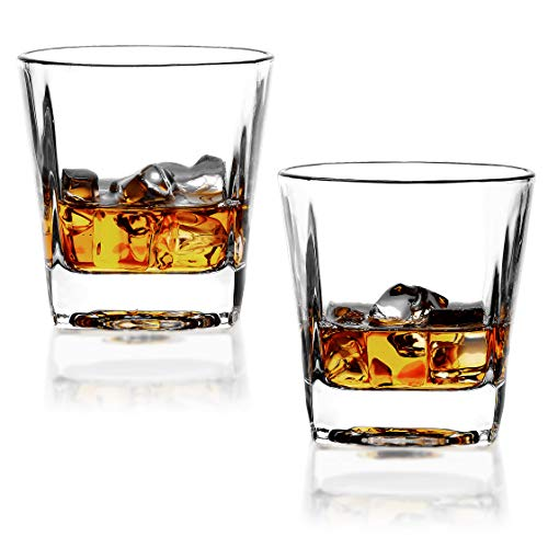(REATR Square 8-Ounce Whisky Glasses set of 2 Rocks Glass Old Fashioned Whiskey Glass Tumbler Bourbon Cognac Scotch Glasses Heavy Base Drinking Glasses for Serving Scotch Drink Ware Clear Whiskey Cup )