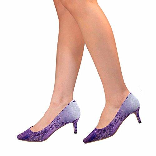 Scarpe Da Donna Low Cost Con Tallone Gattino Scarpe A Punta Scarpe Lavanda Fiori Multi 1