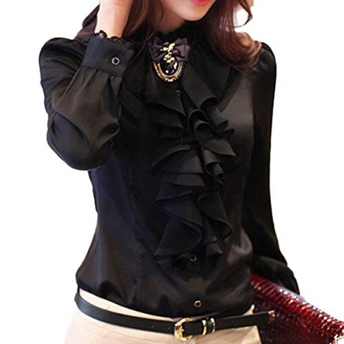 (Women's Ruffle Blouse Long Sleeve Front Deco High Neck Silky Satin Dress Shirts Office Style (8_XXL, Black) Victorian)