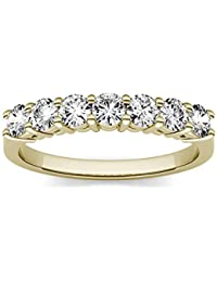 14K Yellow Gold 3.0mm Moissanite by Charles & Colvard Seven Stone Band, 0.70cttw DEW by Charles & Colvard