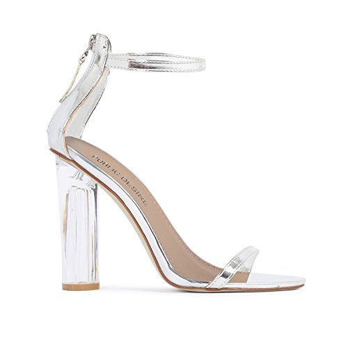 Womens Zip Up Fastening Barely There Perspex Clear Block Heels Silver 3-8