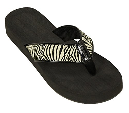 Zebra Flip Flop Sandals - Womens Tidewater Boardwalk Flip Flop Sandals, 10 B(M) US, Zebra