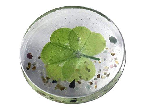 KIN-HEBI Real Four Leaf Clover Good Luck Pocket Token, Preserved, Including Mix Tourmaline, 1.25