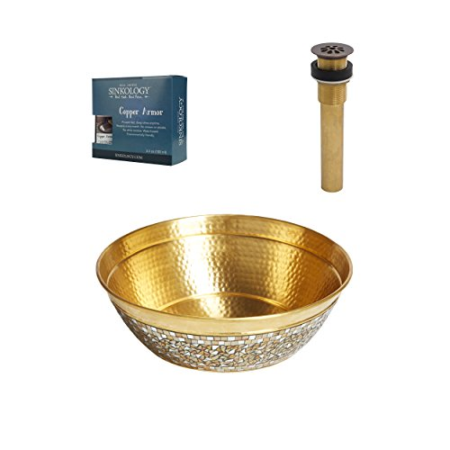 Sinkology SB302-16CH-AMZ-TG  Shockley 16 In. Vessel Sink With Hand Applied Champagne Glass Mosaic Exterior With Grid Drain And Copper Armor Brass Bath Sink, 16 X 16 X 7