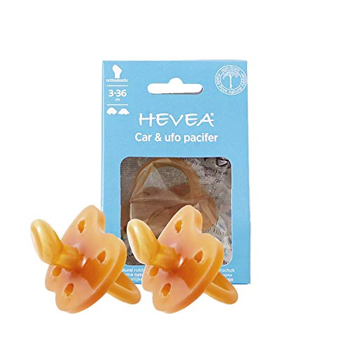 - Hevea Pacifier 2 Pack Natural Rubber Orthodontic Pacifier 3-36 Months with Car & UFO Pattern