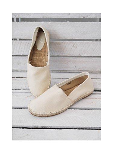 bequeme Slipper Basic Outfit Espadrilles Damenschuhe Ballerinas Flats ecru light beige casual boho 40 (8149)