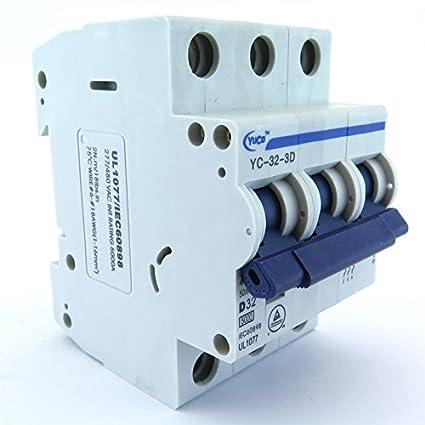 "With 6/"" Din Rail YuCo 3p 3a 240//480v YC-3-3C Miniature Circuit Breaker"