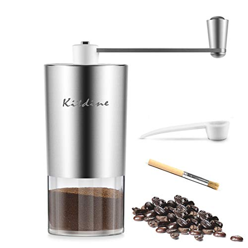 Kitdine Manual Coffee Grinder,Conical Burr Mill With Adjustable Setting, Portable Hand Crank Coffee Grinder For Travel, Stainless Steel, Best For Espresso, French Press, Cold & Turkish Brew