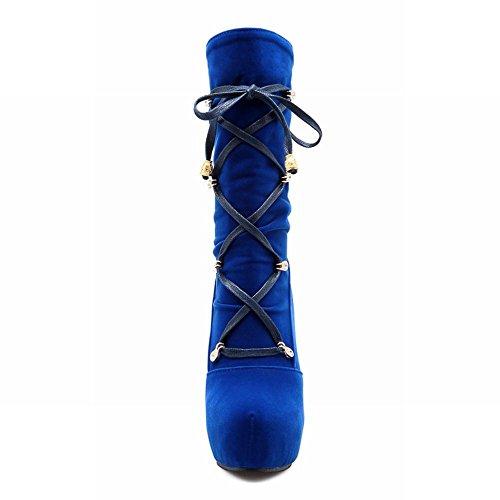 Carolbar Womens Mode Elegans Snörning Chic Strappy Hög Klack Plattform Klänning Boots Blue