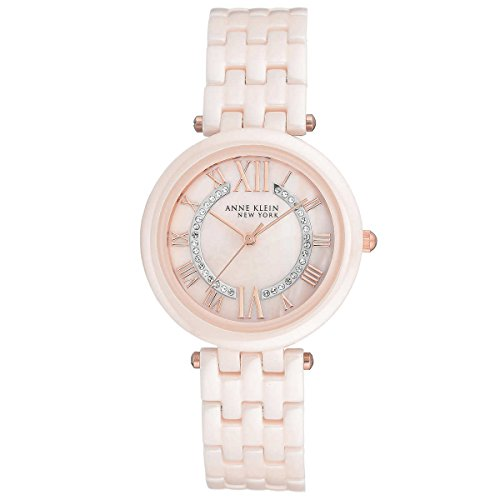 Anne Klein New York Pink Ceramic and Swarovski Crystal Women's Watch