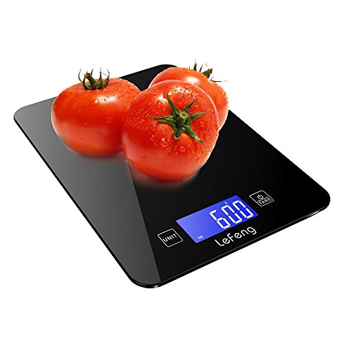 LeFeng Digital Kitchen Scale Baking, Food Scales Grams for Dieting Cooking Accurate, Smooth Tempered Glass with Touch Screen, Black (4 Batteries Included)