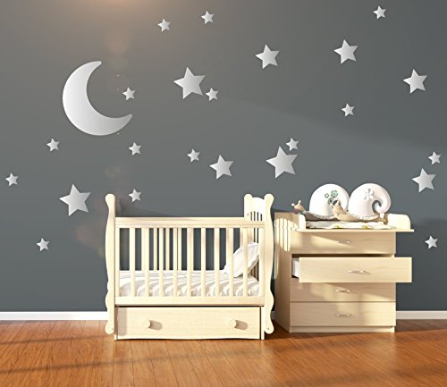 Merveilleux Silver Metallic Nursery Wall Stickers/Decals Large Moon U0026 Stars   Wall Art  For Kids