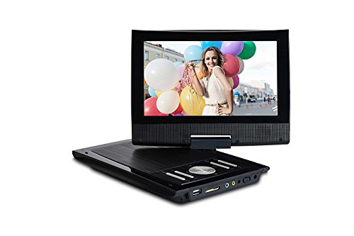 9'' Mini Portable DVD player for Car & Kids – Multimedia Video Player with Swivel Screen / Rechargeable Battery / Remote Control / Car Charger for Kids and TV by Emperor of Gadgets by Emperor of Gadgets