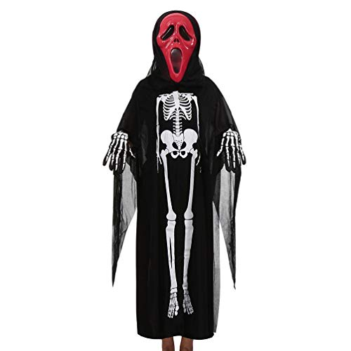 3 Pieces Set First Halloween Costumes Women Men Kids Baby Girl Boy Family Cloak+Mask+Gloves (4-10 Years Old, Black B)