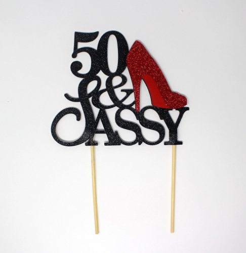All About Details 50 & Sassy Cake Topper (Black and Red) -