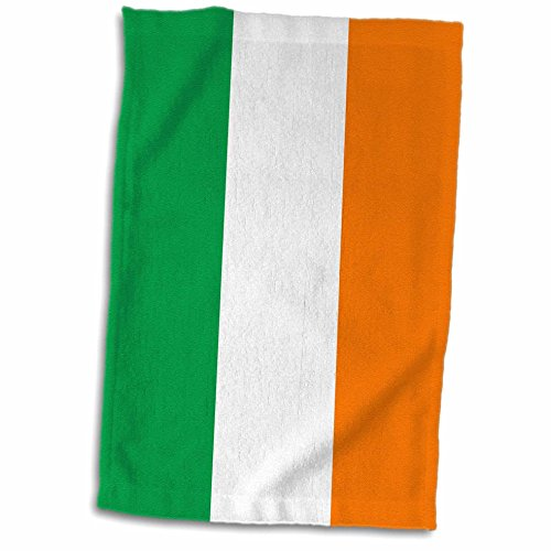 3D Rose Flag of Ireland - Irish Green White Orange Vertical Stripes United Kingdom UK World Country Souvenir Towel, 15