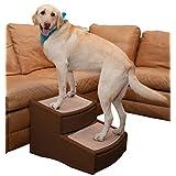 Pet Gear Easy Step II escaleras Extra Anchas para Mascotas, 2 Pasos/para Gatos y Perros de hasta 200 Libras, Chocolate, Extra Ancho